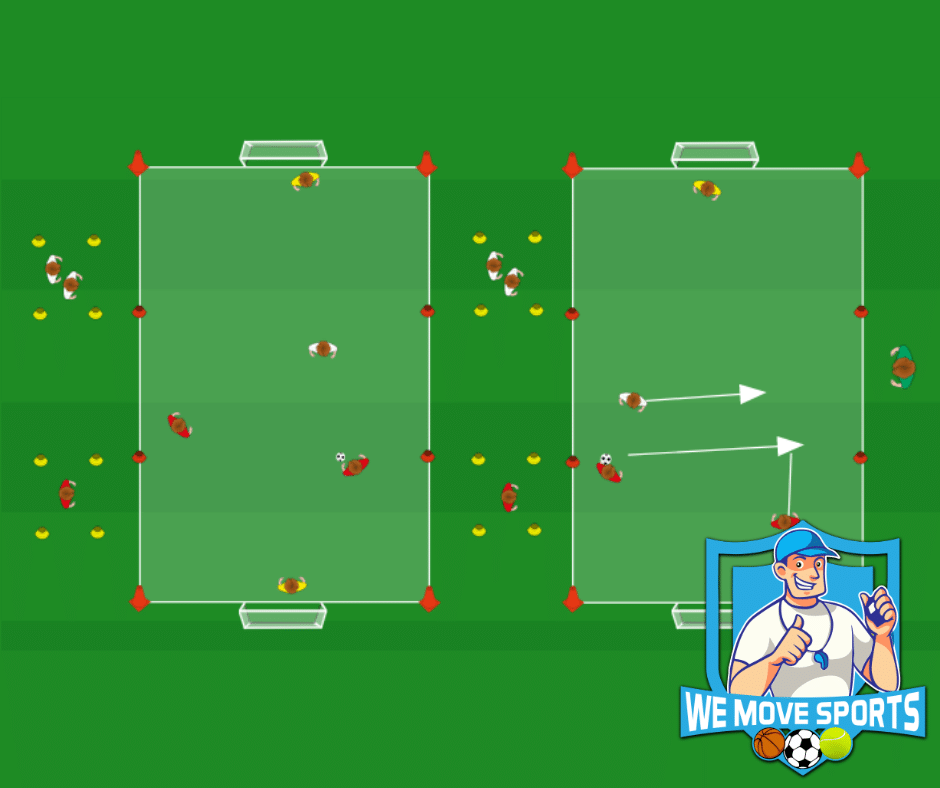 Voetbal oefeningen 2 tegen 1